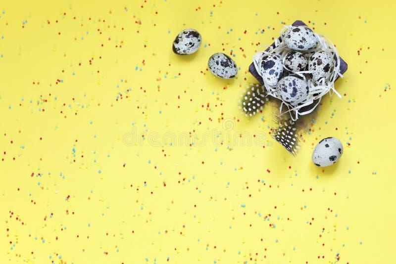 Pasen met van het de eierensuikergoed van verenkwartels het poeder gele achtergrond stock foto