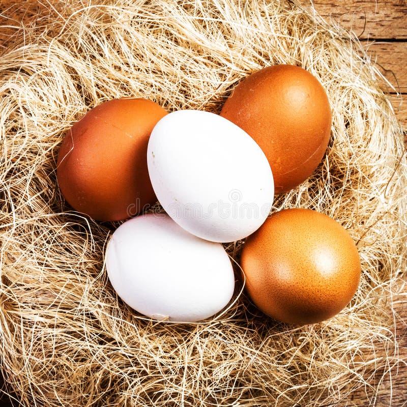 Pasen-nest met Eieren op houten achtergrond met copyspace. Whit stock foto's