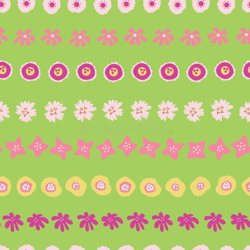 Pasen-patroontegel Bloemen op groene rijen naadloze vectorachtergrond Bloemen getrokken illustratie van hand de roze gele zomer royalty-vrije illustratie
