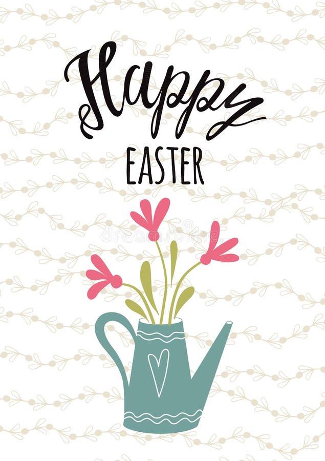 Pasen-pot van de de banner bloemensamenstelling van Pasen van het typografiecitaat de Gelukkige hand getrokken van letters voorzi stock illustratie