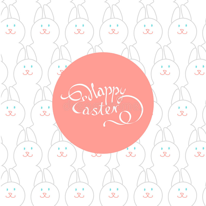 Pasen-prentbriefkaar met een mooie inschrijving: Gelukkige Pasen op Th stock illustratie