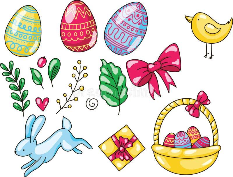 Pasen-reeks van hand getrokken beeldverhaalillustratie Gelukkig Pasen-malplaatje met het konijn en het kuiken van eierenbladeren  stock illustratie