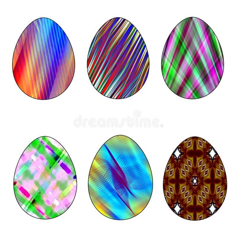 Pasen-reeks van zes gekleurde eieren van verschillende kleuren op een witte achtergrond royalty-vrije illustratie