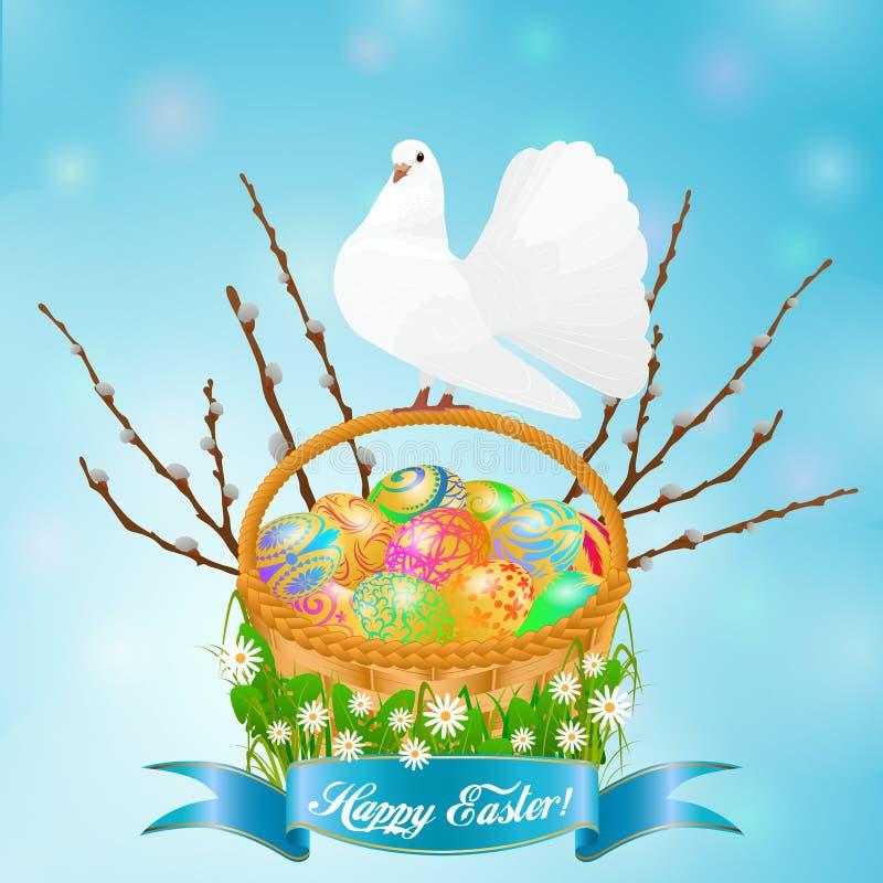 Pasen-regeling - mand met eieren en duif, door gras, wilg en bloemen worden ontworpen die vector illustratie