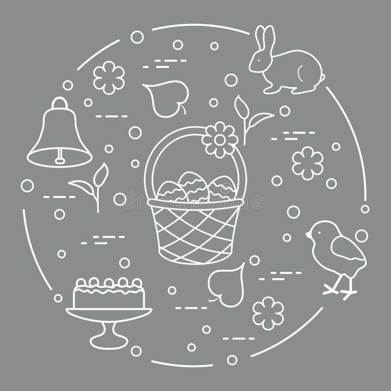 Pasen Simnelcake, mand, eieren, klok, kuiken stock illustratie