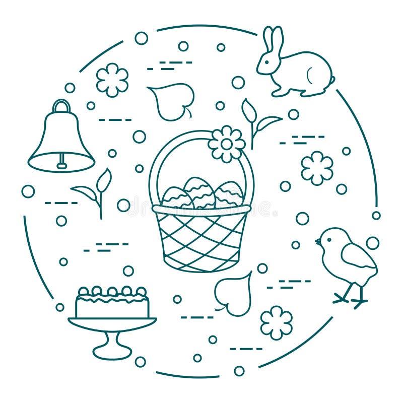 Pasen Simnelcake, mand, eieren, klok, kuiken vector illustratie