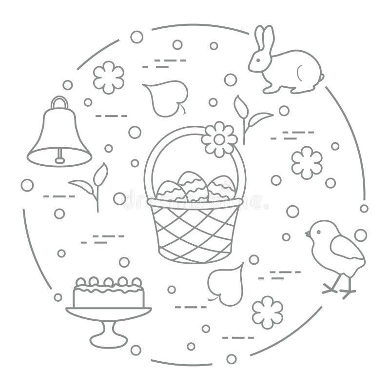 Pasen Simnelcake, mand, eieren, klok, kuiken royalty-vrije illustratie