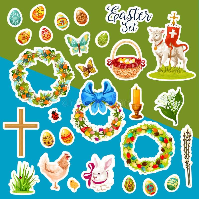 Pasen-sticker met de symbolen dat van de de lentevakantie wordt geplaatst vector illustratie