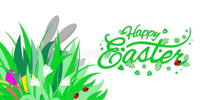 Pasen-thema met oren van konijntje en eieren in gras en bloemen, het van letters voorzien Gelukkige Pasen, vectorillustratie stock foto's
