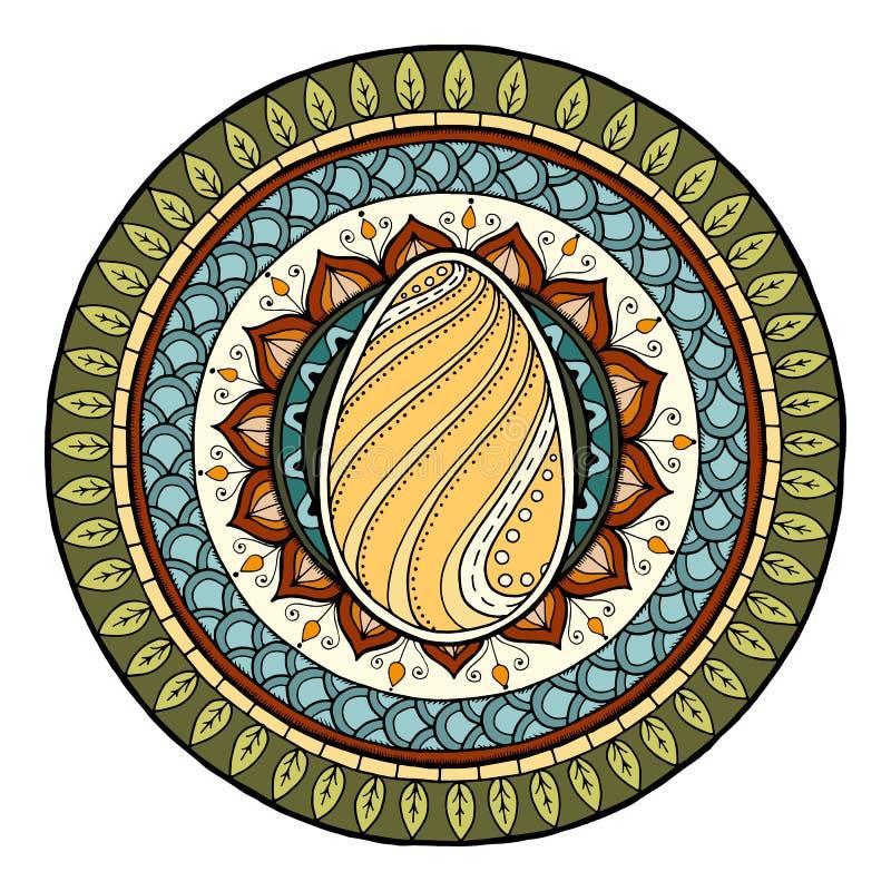 Pasen-themamandala met krabbelei Etnisch bloemenpatroon Mehndi stammenachtergrond van hennapaisley Hand getrokken kunstmandala vector illustratie