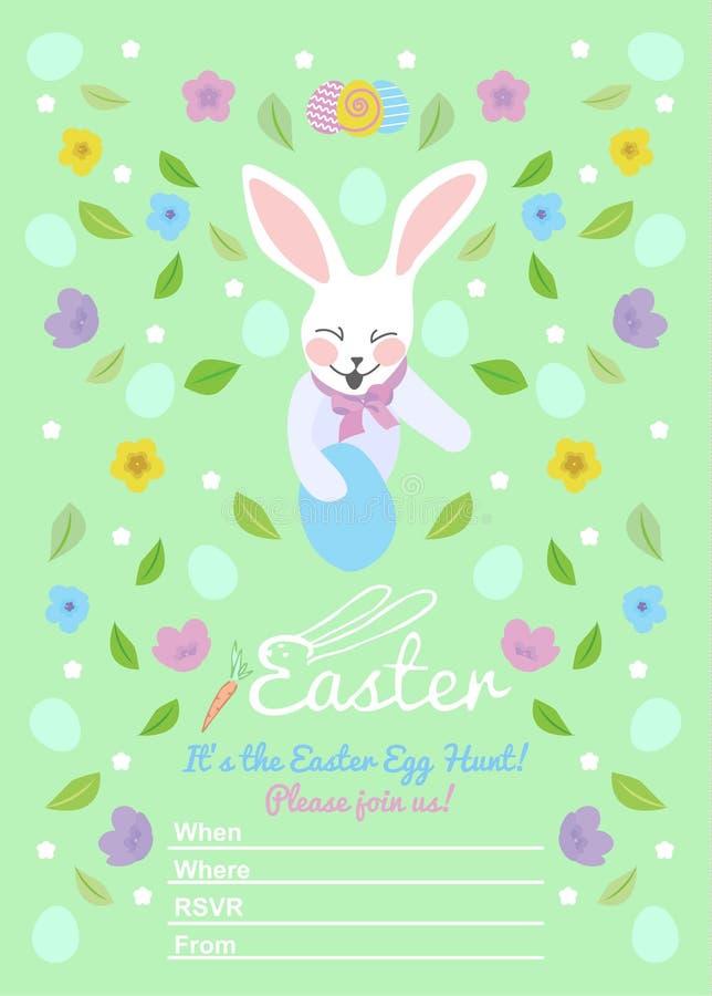 Pasen-uitnodigingenmalplaatjes met eieren, bloemen, bloemenkaders, konijn en typografisch ontwerp royalty-vrije illustratie