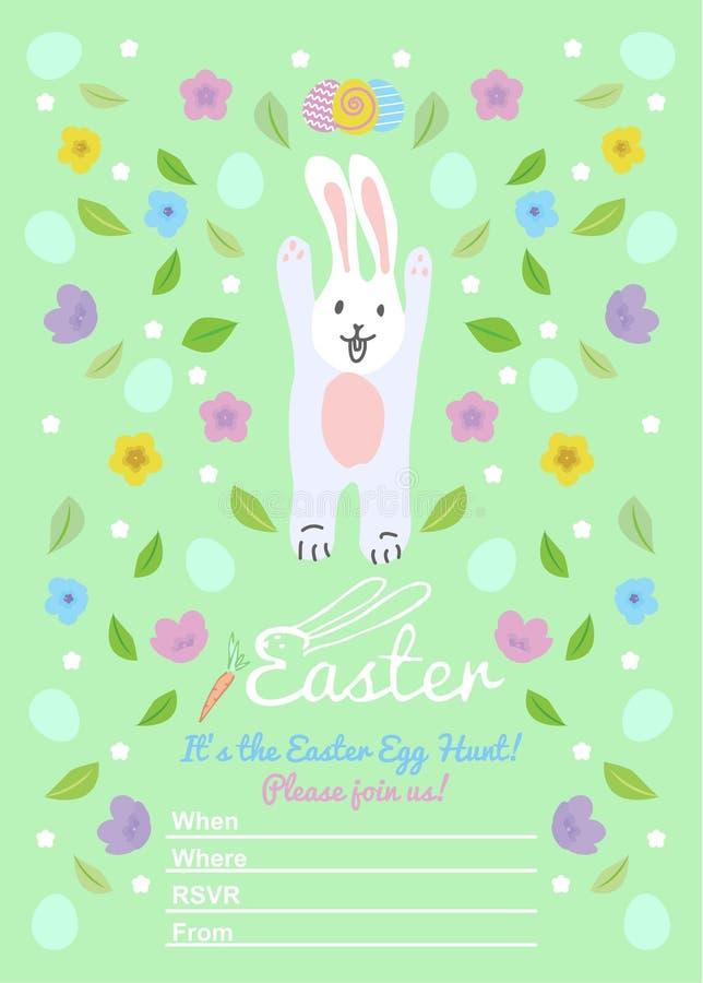 Pasen-uitnodigingenmalplaatjes met eieren, bloemen, bloemenkaders, leuk konijntje en typografisch ontwerp Gelukkige paaseijacht royalty-vrije illustratie