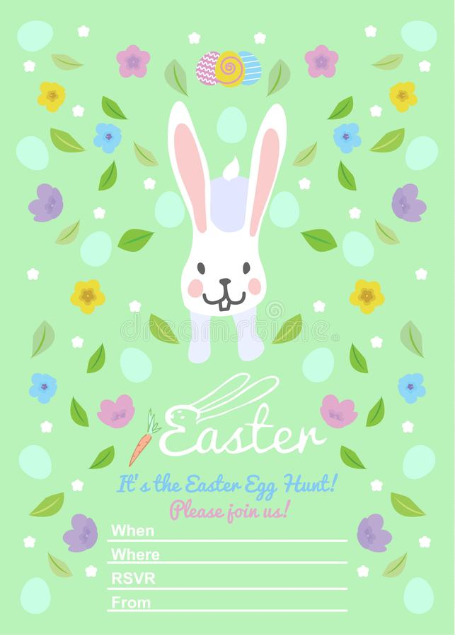Pasen-uitnodigingenmalplaatjes met eieren, bloemen, bloemenkaders, leuk konijntje en typografisch ontwerp stock illustratie