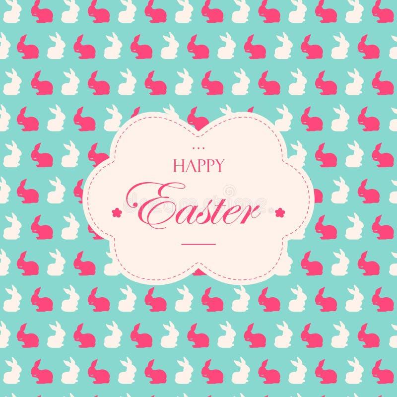 Pasen-vakantiekaarten met de silhouetten van het konijnkonijntje in zachte pastelkleuren Retro achtergrond stock illustratie