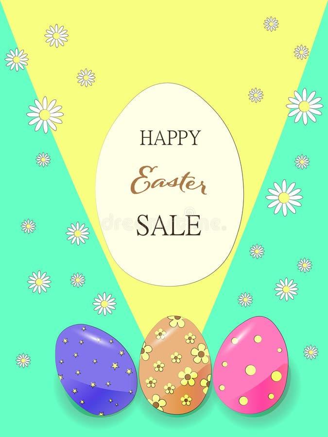Pasen-van de achtergrond verkoopbanner malplaatje met mooie Kamillebloemen en gekleurde eieren vector illustratie
