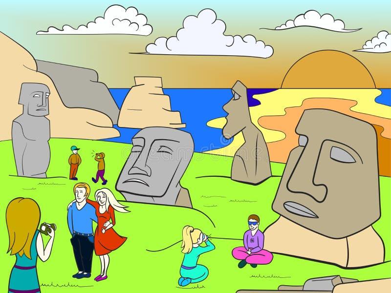 Pasen-van de de kleurenrooster van Eilandexcursies de reishoofd vector illustratie