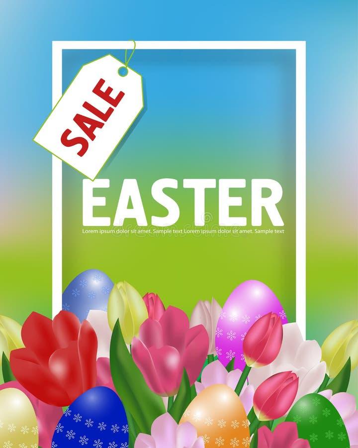 Pasen-verkoopaffiche of banner met tulpen en paschal eieren De de lentetijd… nam bladeren, natuurlijke achtergrond toe Vector royalty-vrije illustratie