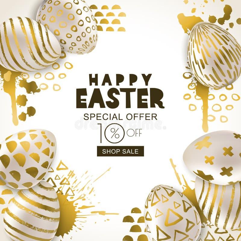 Pasen-Verkoopbanner Vector gouden 3d eierenhand geschilderde decoratie Ontwerp voor vakantievlieger, affiche, partijuitnodiging royalty-vrije illustratie