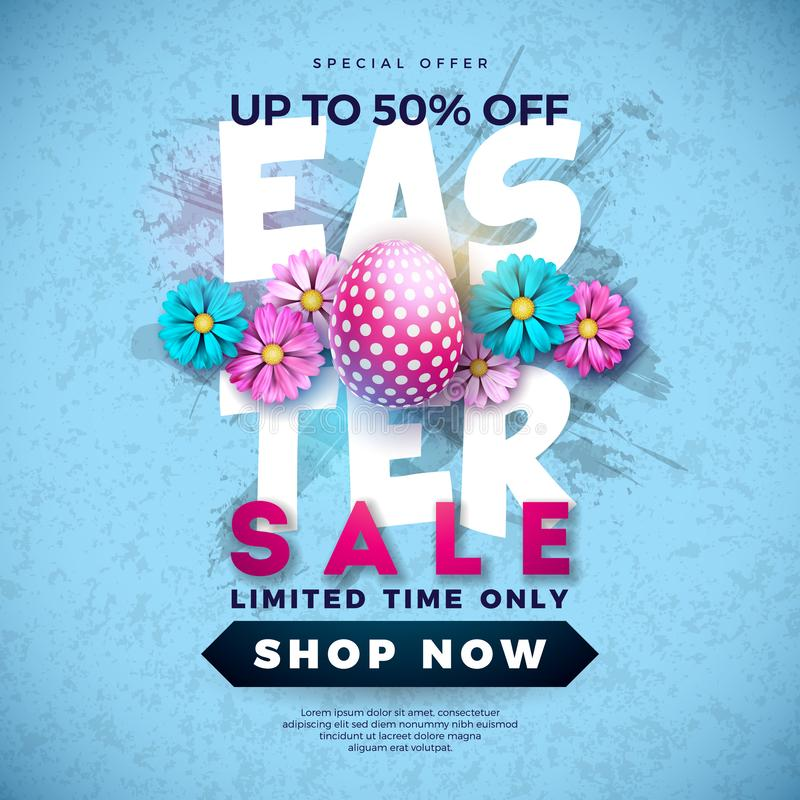 Pasen-Verkoopillustratie met Kleur Geschilderde Ei en de Lentebloem op Grunge-Achtergrond Het vectormalplaatje van het Vakantieon stock illustratie