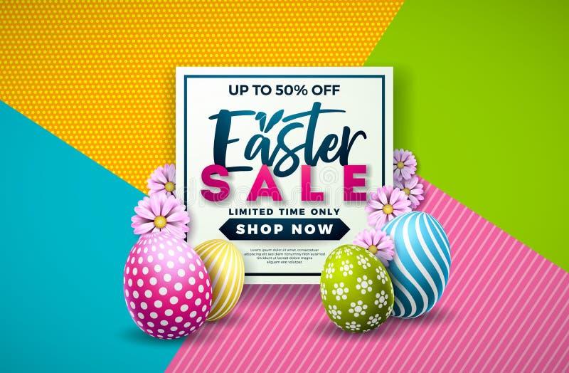 Pasen-Verkoopillustratie met Kleur Geschilderde Ei en de Lentebloem op Kleurrijke Achtergrond Het vectormalplaatje van het Vakant royalty-vrije illustratie