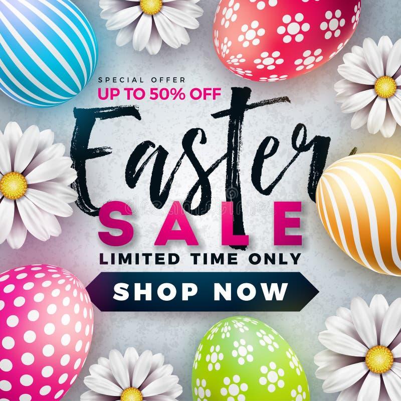 Pasen-Verkoopillustratie met Kleur Geschilderde Ei en de Lentebloem op Witte Achtergrond Het vectormalplaatje van het Vakantieont royalty-vrije illustratie