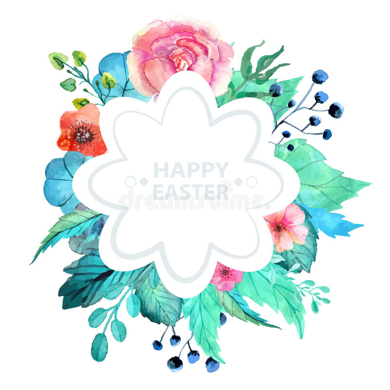 Pasen-waterverf natuurlijke illustratie met bloemsticker