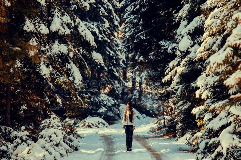 Paseo atractivo de la mujer en bosque nevoso imagen de archivo libre de regalías