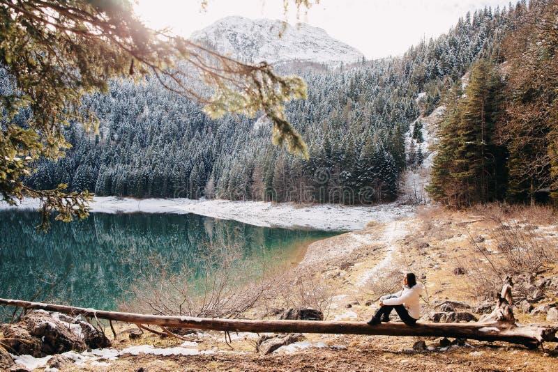 Paseo atractivo de la mujer en bosque nevoso fotos de archivo