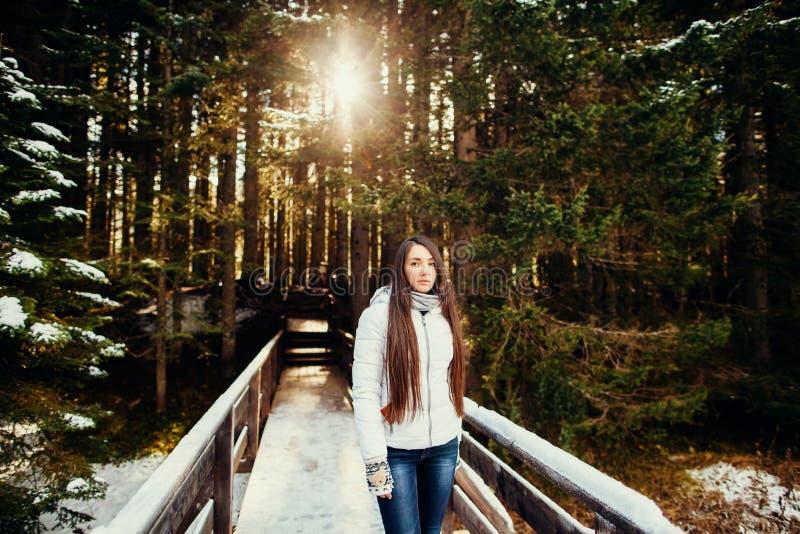 Paseo atractivo de la mujer en bosque nevoso imagenes de archivo