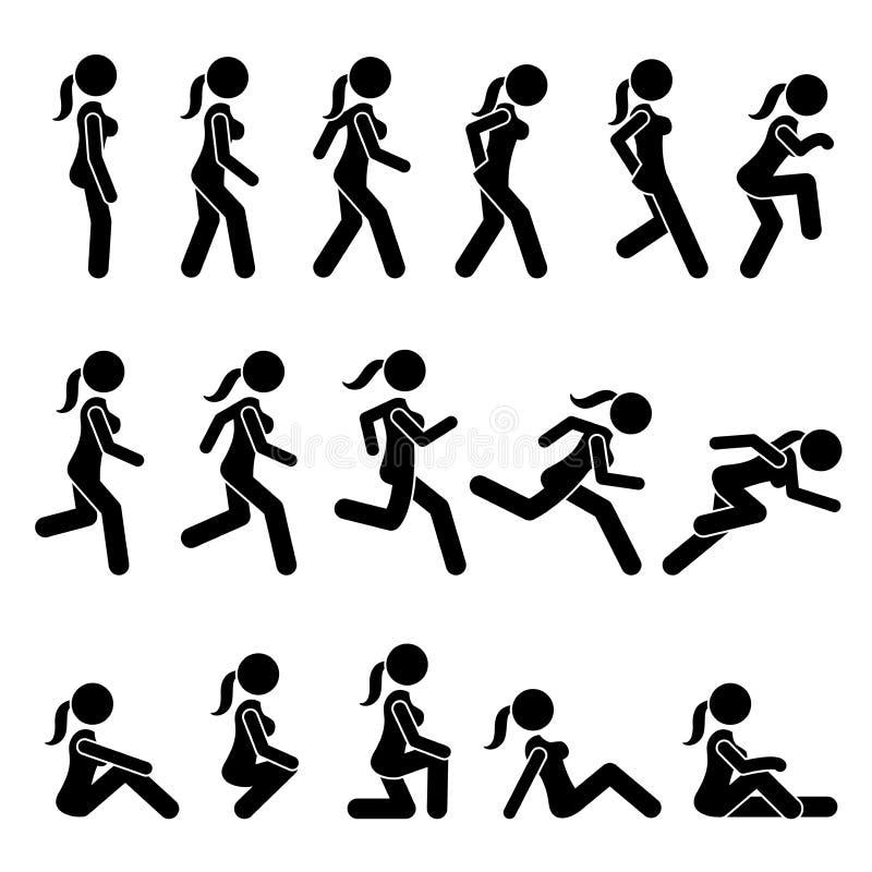 Paseo básico de la mujer y acciones y movimientos corridos stock de ilustración