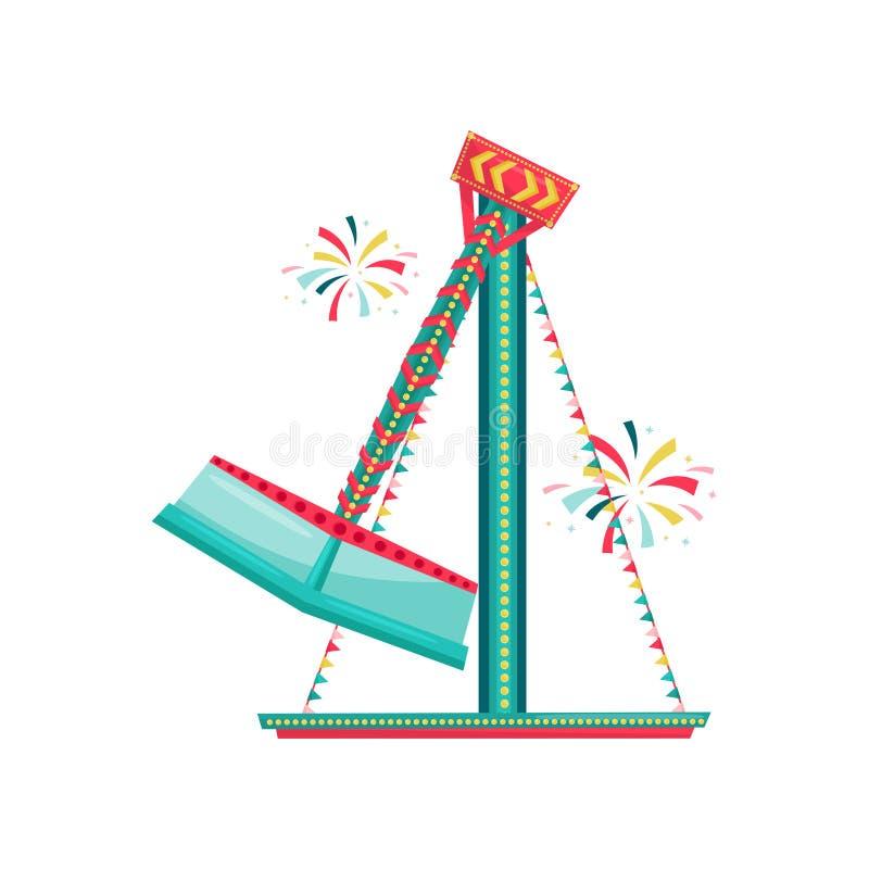 Paseo de giro del carnaval adornado con las banderas de golpe ligero Atracción extrema del funfair Parque de atracciones Diseño p ilustración del vector