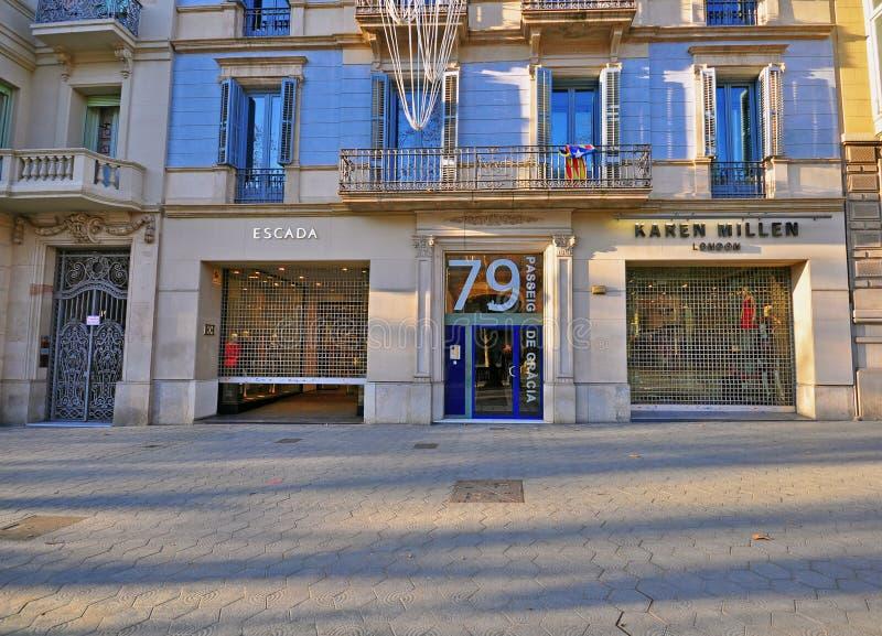 Paseo de Gracia gata, Barcelona royaltyfria bilder