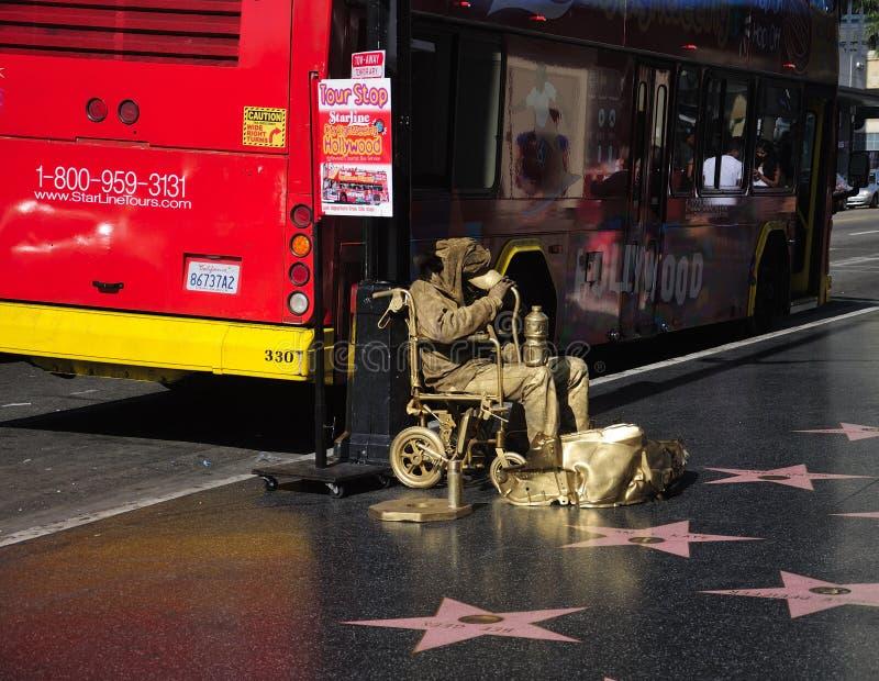 Paseo de Hollywood del hombre Los Ángeles del oro de la fama imagenes de archivo