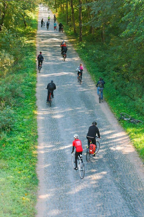 Paseo de la bici, grupo aficionado de los ciclistas imagen de archivo libre de regalías