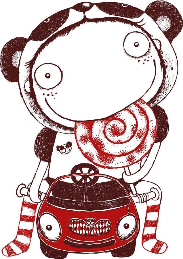 Paseo de la chica joven un coche, recepción linda del niño Vector y ejemplo, vector libre illustration