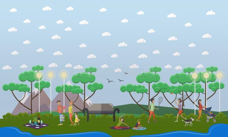 Paseo de la familia en el ejemplo del vector del parque en estilo plano stock de ilustración
