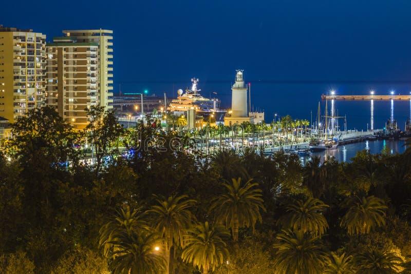 PAseo de la Farola, nuit de Malaga images libres de droits
