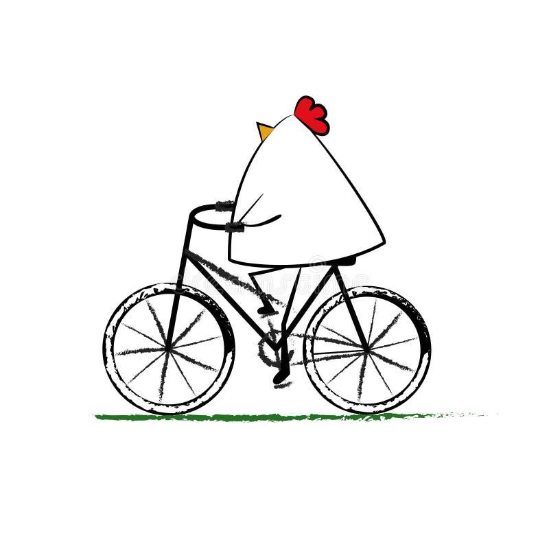 Paseo de la gallina una bici stock de ilustración
