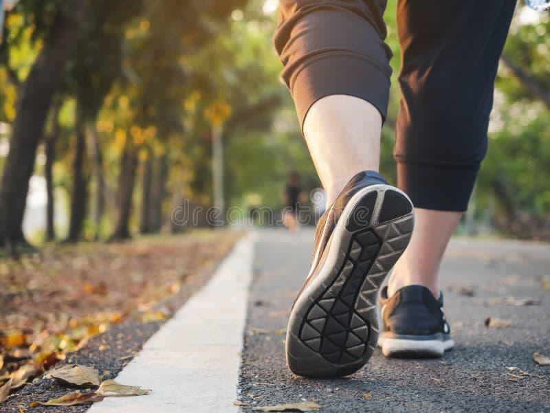 Paseo de la mujer en forma de vida sana del ejercicio al aire libre del entrenamiento del parque foto de archivo