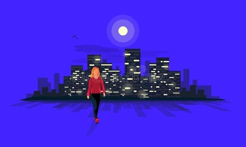 Paseo de la noche con la mujer y la luna urbana del horizonte de Lanscape de la ciudad de la noche stock de ilustración