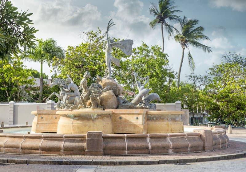 Paseo de la Princesa fountain in old San Juan. Puerto Rico stock image