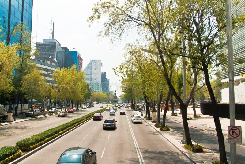 Paseo de la Reforma,墨西哥城 免版税库存图片