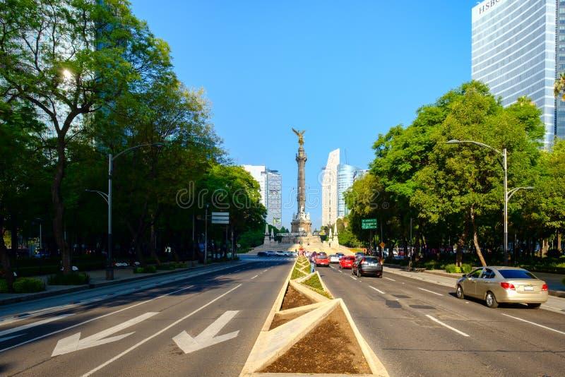 Paseo De Los angeles Reforma i niezależność w Meksyk anioł obraz royalty free