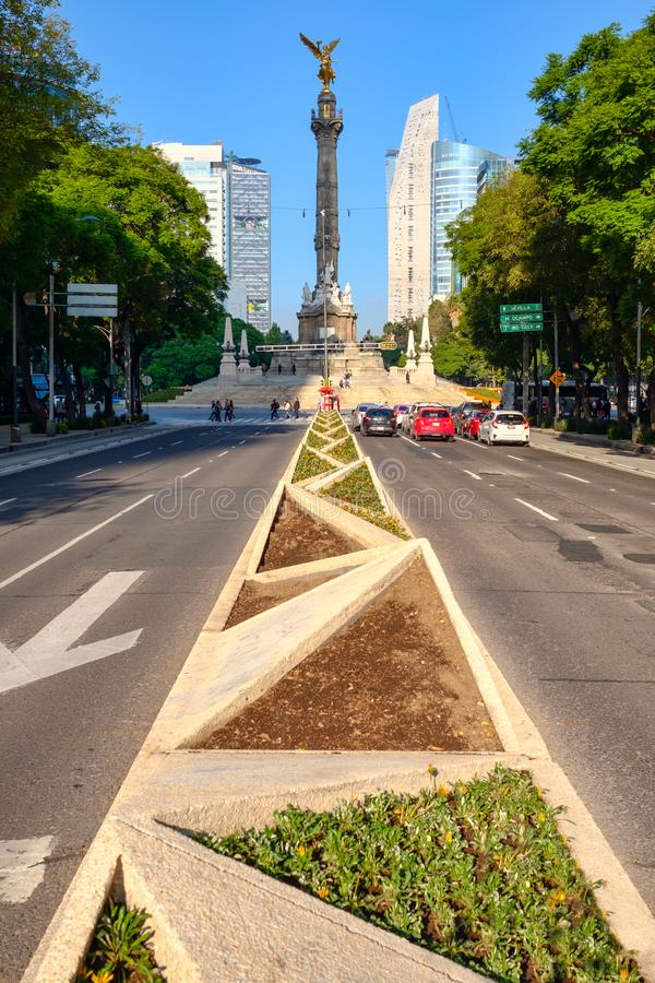Paseo De Los angeles Reforma i niezależność w Meksyk anioł obraz stock