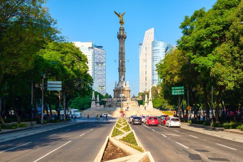 Paseo De Los angeles Reforma i niezależność w Meksyk anioł zdjęcia royalty free