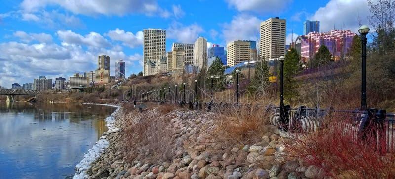Paseo de River Valley - Louise McKinney Riverfront Park, Edmonton fotografía de archivo libre de regalías