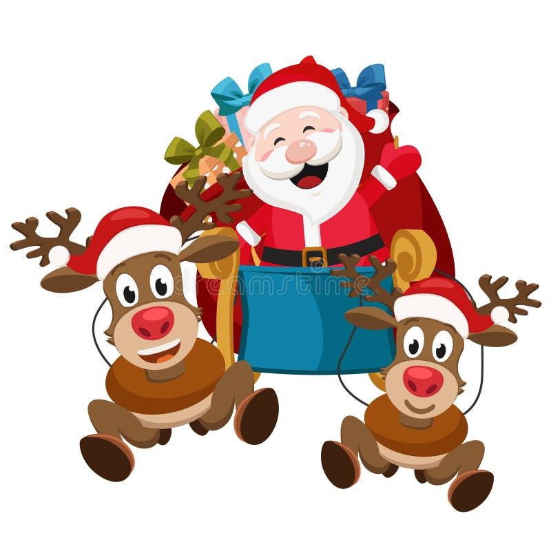 Paseo de Santa Claus y de dos ciervos en un trineo con los regalos en el fondo blanco ilustración del vector