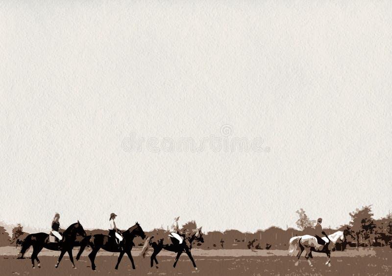 Paseo del caballo al grupo de jinetes foto de archivo