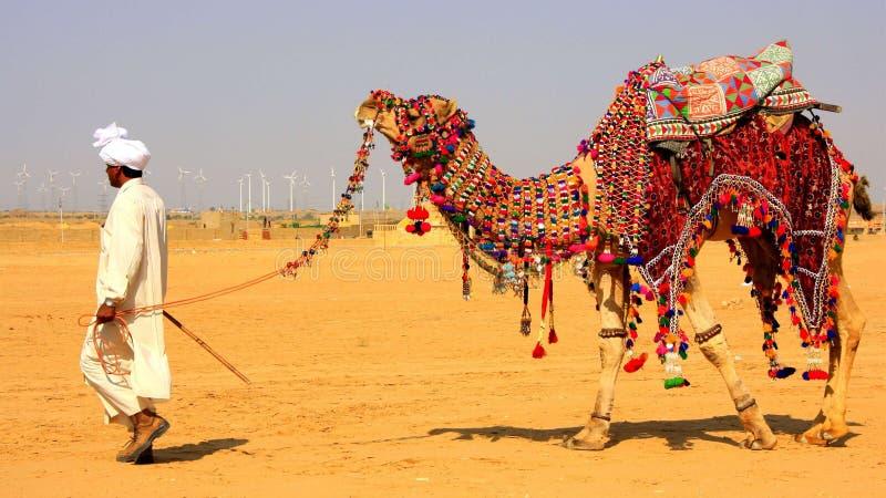 Paseo del camello del distrito de Rajasthán Jaisalmer imagen de archivo