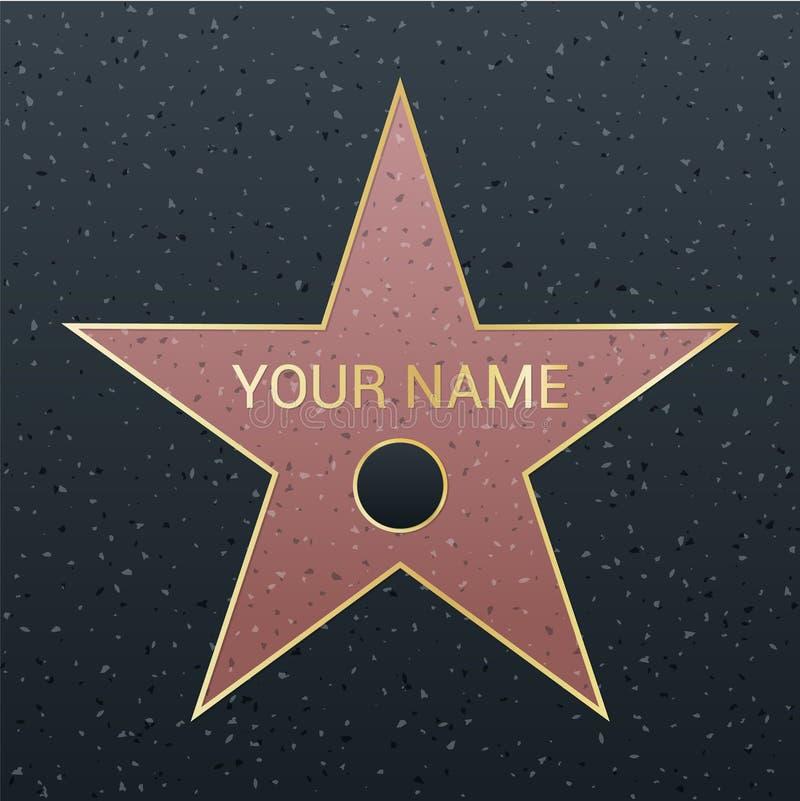 Paseo del ejemplo de la estrella de la fama Símbolo famoso de la recompensa Logro de la celebridad del actor ilustración del vector